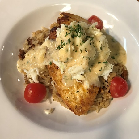 Blackened Chicken with Crab Butter over Pecan Rice